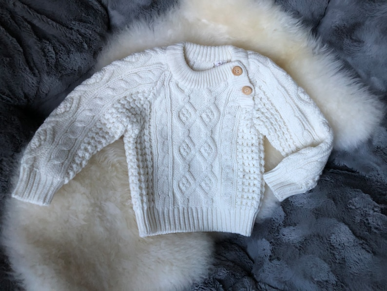 Beige Fishermen/'s Sweater with Brown Buttons on Shoulders See Measurements Vintage Cabled Fisherman/'s Pullover Sweater for Baby