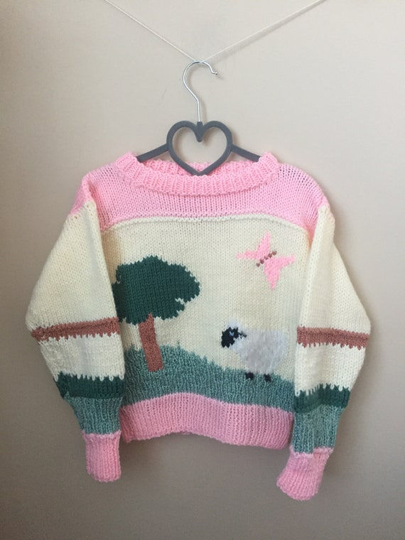 Vintage Hand Knit Spring Farmland Pullover Sweater