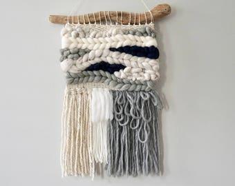 Woven Wall Hanging / Weaving / Tapestry / Wall Art / Nursery Decor / Home Decor / Navy Blue, Grey, Cream, White, Neutral