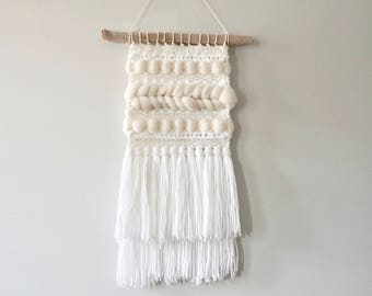 Woven Wall Hanging / Weaving / Tapestry / Wall Art / Nursery Decor / Home Decor / Cream, White, Neutral