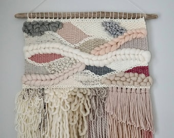 Large Woven Wall Hanging / Weaving / Tapestry / Wall Art / Nursery Decor / Home Decor / Pink, Grey, White, Taupe, Neutral