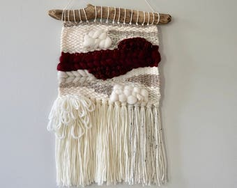Woven Wall Hanging / Weaving / Tapestry / Wall Art / Nursery Decor / Home Decor / Burgundy, Taupe, Cream, White, Neutral