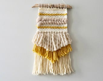 Woven Wall Hanging / Weaving / Tapestry / Wall Art / Nursery Decor / Home Decor / Yellow, Mustard, Taupe, White, Neutral