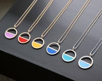 Simple Semi Circle Modern Contemporary Enamel Silver Necklace Pendant