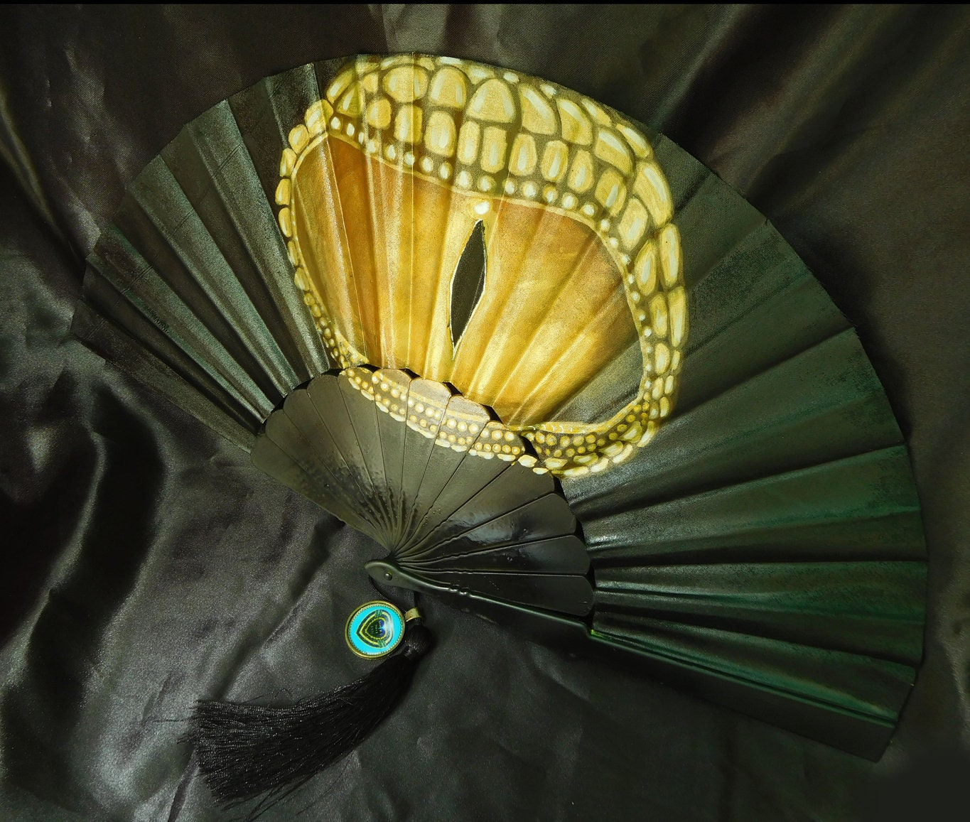 Hand Fan Unique Golden Eye- Hand Painted Gift Party Mother of ...