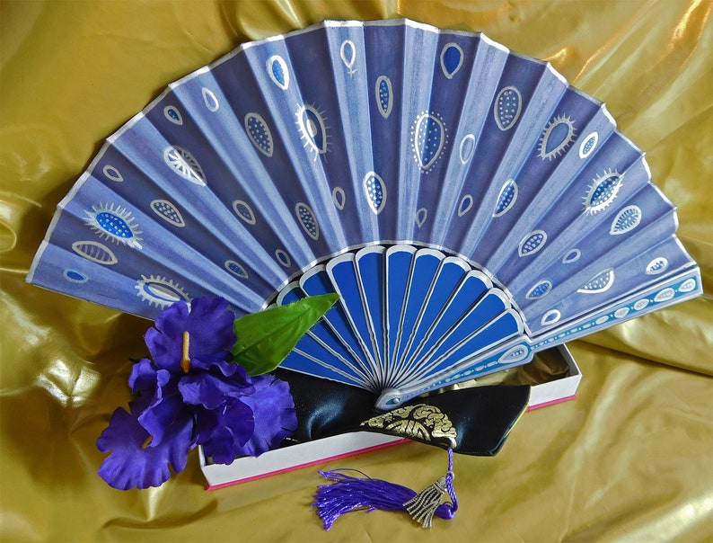 Hand Fan Unique Purple Rain - Hand Painted Fan Gift Party Anniversary  Wedding Bridal Fashion Costume Dance Party Accessory Favors Wall Art