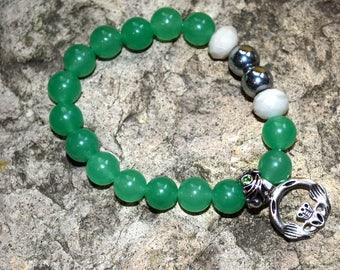 Green Aventurine Claddagh charm bracelet handmade