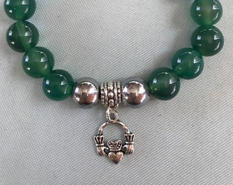 Emerald Green Claddagh Charm bracelet
