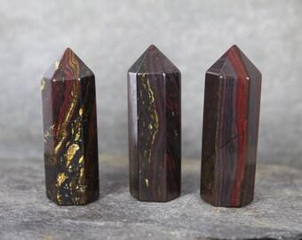Red Tiger Iron Jasper Crystal Point/Tiger Iron Wand/ONE Natural Tiger Iron Crystal Point/Chakra Stone/Collector Specimen