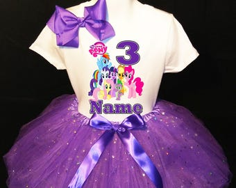 229cee1f My Little Pony***With NAME*** 3rd third 3 Birthday Purple Tutu Dress Fast  Shipping party Shirt Personalized
