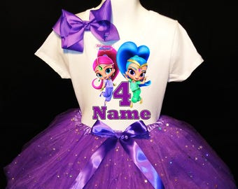 Shimmer & Shine***With NAME*** 4th fourth 4 Birthday  Purple Tutu Dress Fast Shipping party Shirt Personalized
