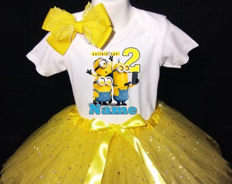 MINIONSWith NAME 2nd Second 2 Birthday Tutu Dress Fast Shipping Party Shirt Yellow Outfit Personalized