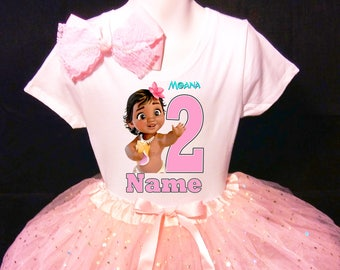 Moana BabyWith NAME 2nd Second 2 Birthday Pink Tutu Dress Fast Shipping Party Shirt Personalized