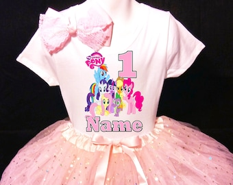 19af46524 My Little Pony***With NAME*** 1st first 1 Birthday Dress Fast Shipping  party Shirt and pink Tutu outfit Personalized