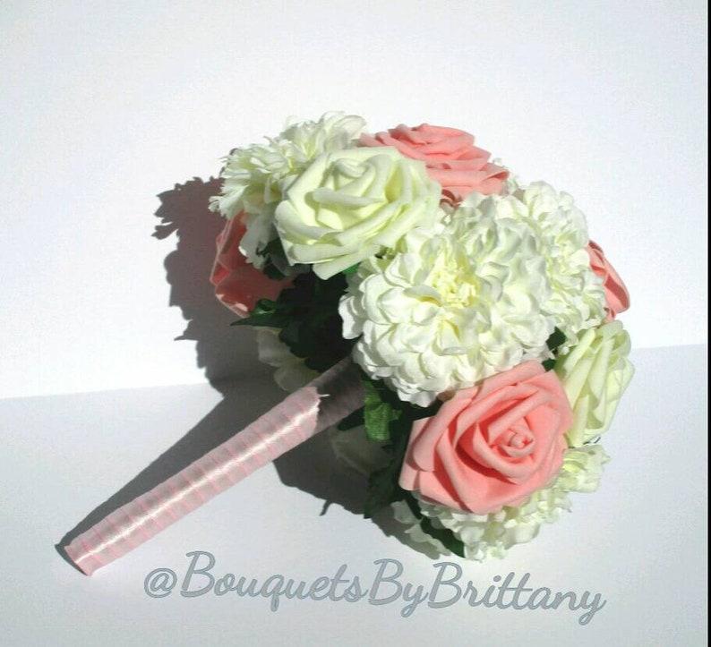 Quinceanera bouquet pink princess wedding Pink rose bouquet Silk flower bouquet Classic wedding bouquet Pink and white wedding flowers