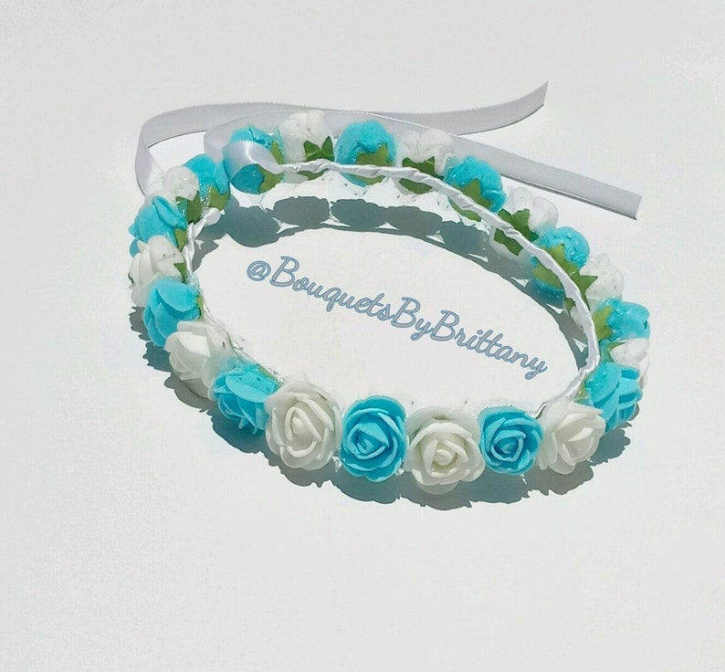 maternity shoot prop blue rose headband boy baby shower crown Flower girl crown