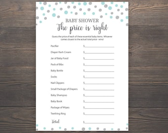 Blue Gold Baby Shower Games Price Is Right Game Printable Etsy