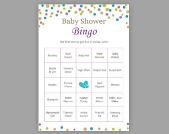 60 Prefilled Baby Bingo Cards Blue Elephant Baby Shower Etsy