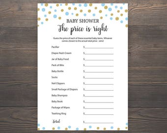 picture regarding Free Printable Price is Right Baby Shower Game known as Silver and Blue Kid Shower Game titles Price tag is Directly Printable