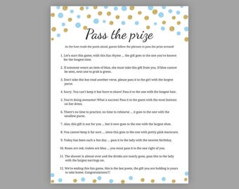 Pass The Prize Baby Shower Games Girl Baby Shower Rhyme Etsy