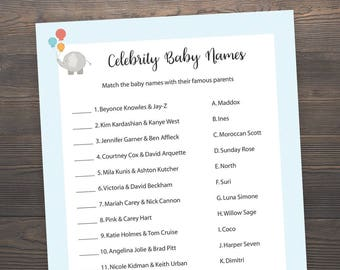 Baby Shower Games Celebrity Baby Name Game Celebrity Baby Etsy