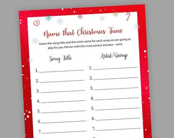 graphic relating to Guess the Christmas Song Printable identified as Xmas tune Etsy