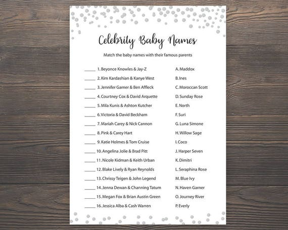 picture about Celebrity Baby Name Game Printable named Silver Kid shower online games, Celeb kid reputation recreation, Printable youngster shower, Superstar youngster names, Grey, Silver Boy or girl Status Match, S012