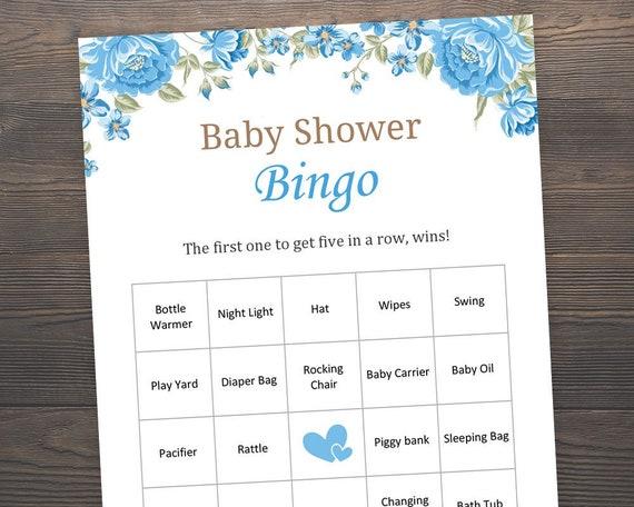 60 Prefilled Blue Baby Bingo Cards Baby Shower Games Etsy