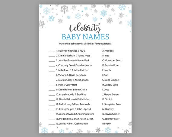 0dfaafdca Winter Snowflake Celebrity Name Game Baby Shower Games Boy