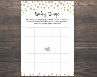 Purple Gold, Baby Shower Games, Baby Shower Bingo Game, Bingo Printable, Printable Blank Bingo, Bingo Party Games, Bingo Shower Games, S008