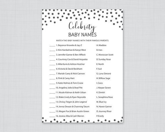 Celebrity baby name game, Gender Neutral Baby Shower, Printable Baby Shower Game, Celebrity baby names, Black and White, S070