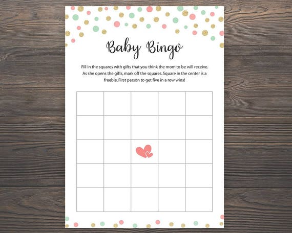 Coral Mint Green Gold Baby Shower Games Baby Bingo Cards Etsy
