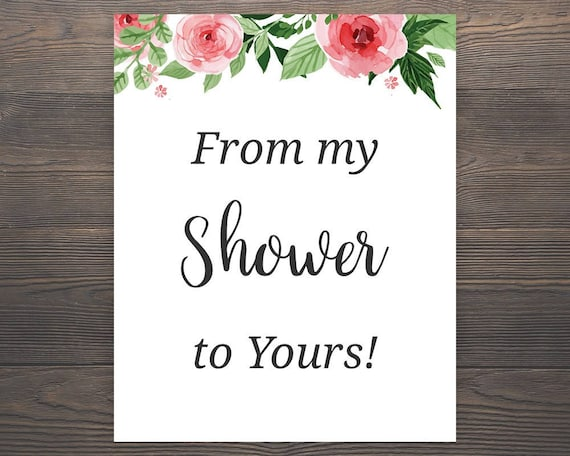 From my Shower to yours Sign Printable Favor Sign Favor | Etsy