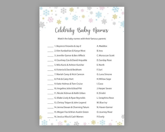 2ce852259 Winter Baby Shower Games Snowflakes Celebrity Name Game Gold