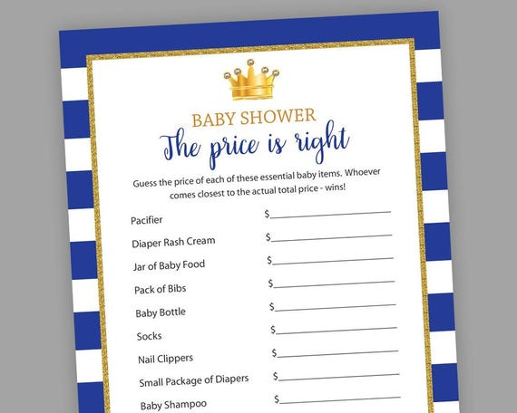 Royal Baby Shower Games The Price Is Right Little Prince Etsy