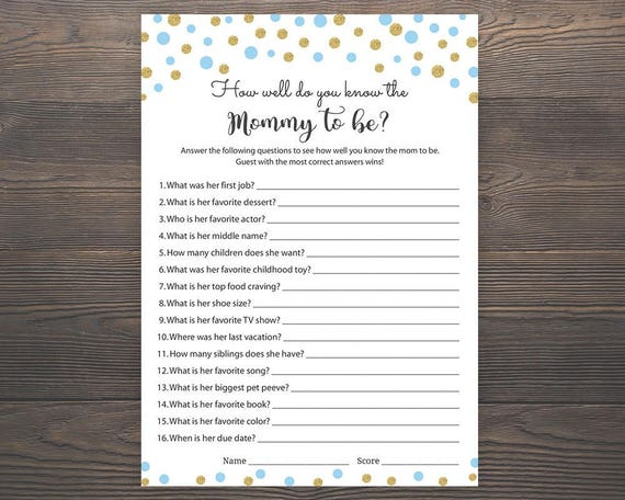 photograph regarding Free Printable Baby Shower Games Who Knows Mommy the Best called Blue and Gold, Little one Shower Game titles, Who Is familiar with Mommy Suitable, Little one Boy Shower Activity, How Very well do by yourself realize Mommy, Blue Youngster Shower Strategies, S005