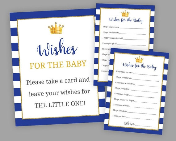 Royal Baby Shower Games Wishes For Baby Cards Baby Shower Etsy