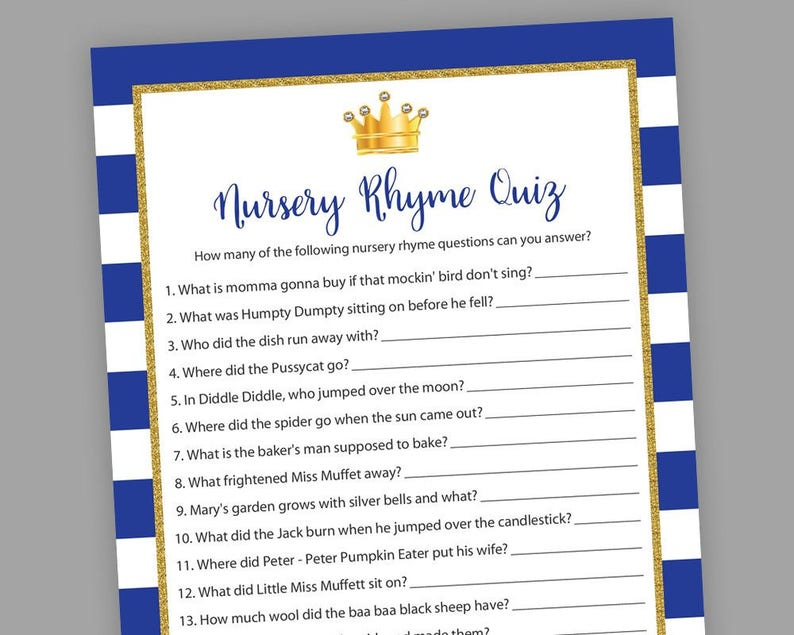Royal Baby Shower Games, Nursery Rhyme Quiz, Little Prince, Printable Baby  Shower, Royal Blue Gold Games, Nursery Rhymes Game, S021