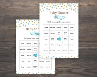 30 Prefilled Baby Bingo, Baby Shower Games, Baby Shower Bingo, 30 Bingo Cards, Boy Baby Shower, DIY Baby Bingo Printable, Blue, Gold, S005