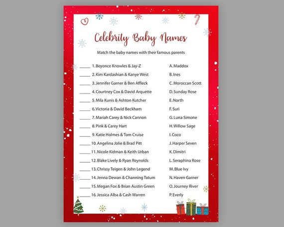 Christmas Baby Shower Games Celebrity Baby Name Game Winter Etsy