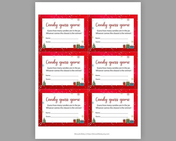 Christmas Baby Shower Games Candy Guessing Game Guess How Many