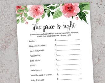 Price is Right, Pink Baby Shower Games, Printable Baby Shower, Girl Baby Shower, Pink Price is Right Baby Shower Game, S017