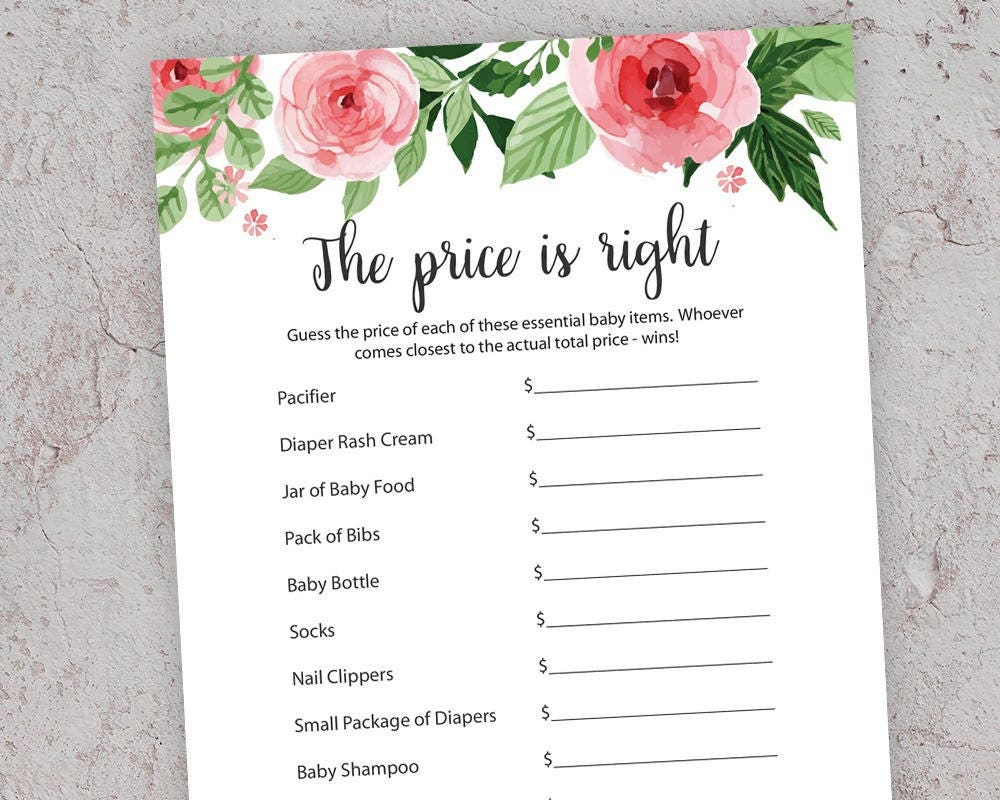 Price Is Right Pink Baby Shower Games Printable Baby Shower Etsy