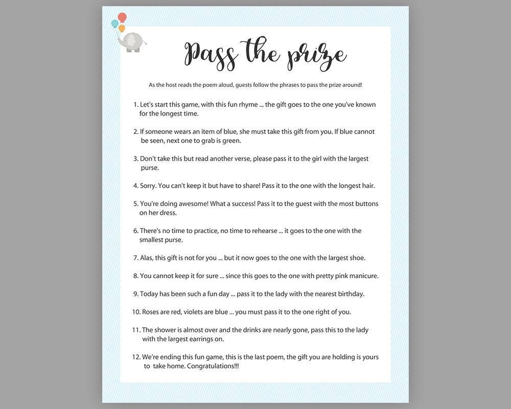 Pass the Prize, Baby Shower Games, Boy Baby Shower, Rhyme Game, Parcel Game,  Blue Pass the Parcel Game, ...