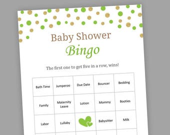 Lime Green Baby Shower Games, 60 Prefilled Baby Bingo Cards, Green Baby Shower Bingo, Bingo Cards Game, Printable, Baby Bingo Cards, S009