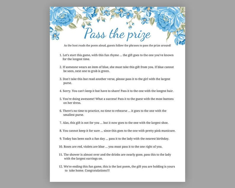 Pass The Prize Baby Shower Games Boy Baby Shower Rhyme Etsy
