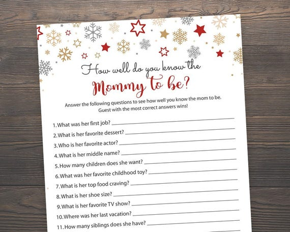 Winter Baby Shower Games Who Knows Mommy Best Christmas Baby Etsy