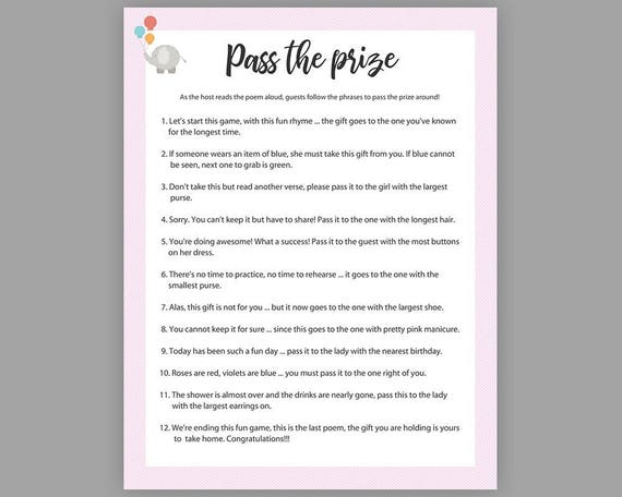 picture relating to Pass the Prize Baby Shower Game Free Printable titled P the Prize, Child Shower Video games, Lady Youngster Shower, Rhyme Activity, Parcel Activity, Purple P the Parcel Match, Elephant Child Shower Recreation, S003
