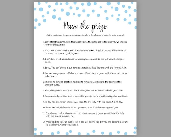 blue baby shower games pass the prize boy baby shower rhyme etsy