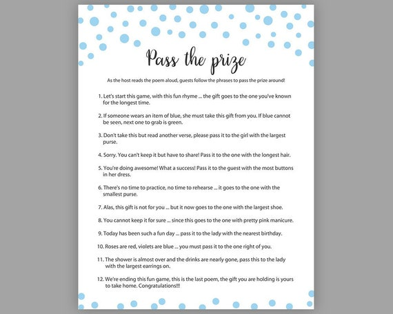 photograph regarding Baby Shower Pass the Prize Rhyme Printable called Blue Kid Shower Game titles, P the Prize, Boy Boy or girl Shower, Rhyme Sport, Parcel Recreation, Blue P the Parcel Activity, Kid Shower Sport, S043
